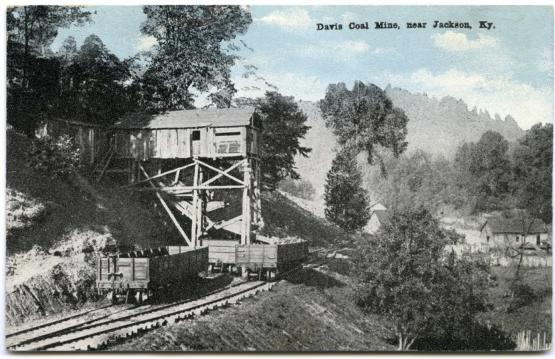 "Davis Coal Mine, near Jackson, Ky.  From the Postcard Collection, University of Kentucky Special Collections. Accession number 2008ms016.  <a href=""http://kdl.kyvl.org/catalog/xt7x696zwx82_1_2668"">http://kdl.kyvl.org/catalog/xt7x696zwx82_1_2668</a>"
