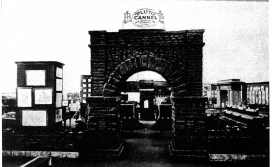 Coal Arch constructed by the Kentucky Block Cannel Coal Co. at 1905 St. Louis Exposition made from coal mined at Cannel City. Submitted by Andrew Jones 4/1/14.