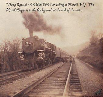 "Harold train &quot;Troop Special 446&quot; in 1941 with railroad depot in background, Harold KY.  Submitted 4/2/14 by Lisa Stumbo, Director of ECHO (Embracing Cultural Heritage Opportunities), Big Sandy Community &amp; Techinical College: <a href=""mailto:lstumbo0004@kctcs.edu"">lstumbo0004@kctcs.edu</a>"