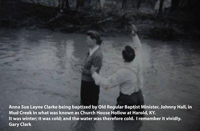 "Anna Sue Layne Clark&#039;s winter baptism in mud creek, Harold KY.  Submitted 4/2/14 by Lisa Stumbo, Director of ECHO (Embracing Cultural Heritage Opportunities), Big Sandy Community &amp; Techinical College: <a href=""mailto:lstumbo0004@kctcs.edu"">lstumbo0004@kctcs.edu</a>"
