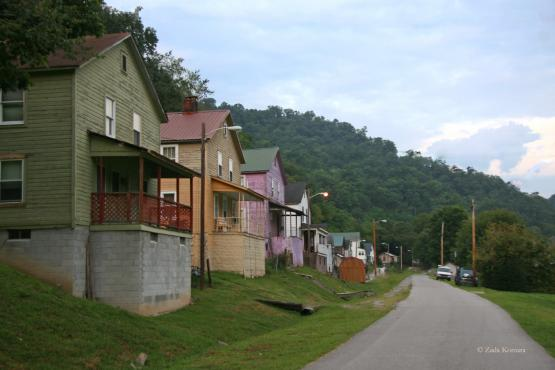 "Former company row houses on Railroad Street facing east, Wayland, Kentucky.  Photo by Zada Komara <a href=""mailto:zko222@g.uky.edu"">zko222@g.uky.edu</a> on 8/31/2014"