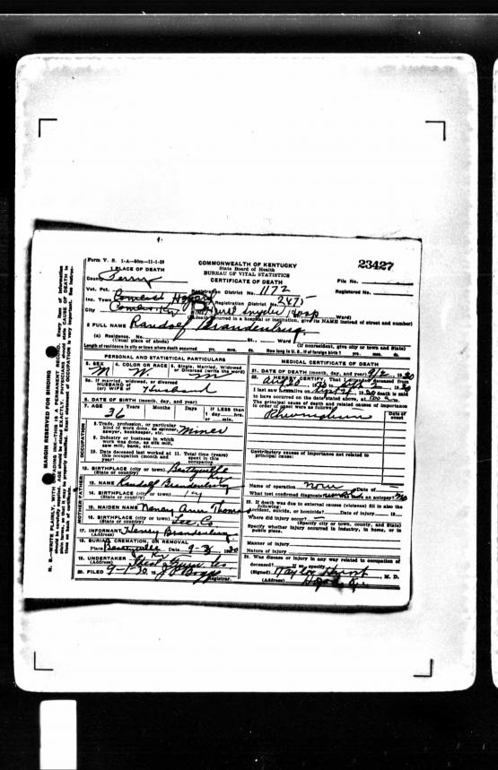 Death Certificate 23427 from the Commonwealth of Kentucky State Board of Health Bureau of Vital Statistics