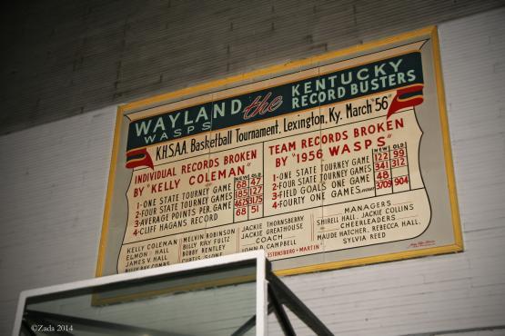 "Sign inside Wayland&#039;s historic wooden gym.  Photo by Zada Komara 8/31/2014 <a href=""mailto:zko222@g.uky.edu"">zko222@g.uky.edu</a>"