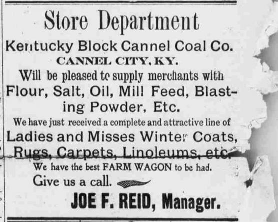 Company store ad, Cannel City, KY.  In the Licking Valley Courier, 2/15/1915, from the Library of Congress Historic American Newspaper collection.