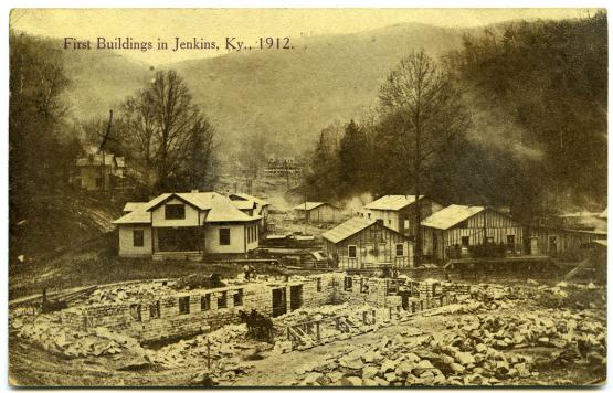 "First Buildings in Jenkins, 1912.  From the University of Kentucky Special Collections Postcard Collection, hosted by The Kentuckiana Digital Library <a href=""http://kdl.kyvl.org/catalog/xt7x696zwx82_1_2675"">http://kdl.kyvl.org/catalog/xt7x696zwx82_1_2675</a>"