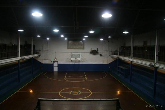 "Interior of Wayland&#039;s historic wooden gym, built in 1937 and closed in 1990.  Photo by Zada Komara 8/31/2014 <a href=""mailto:zko222@g.uky.edu"">zko222@g.uky.edu</a>"