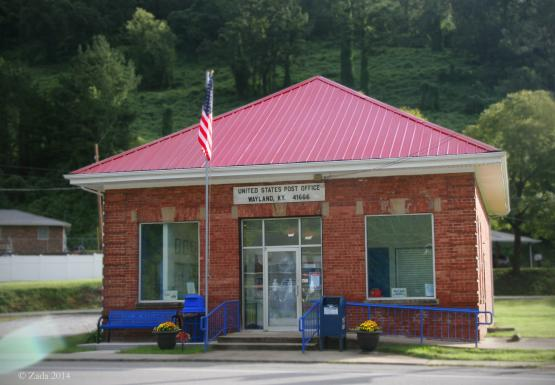 """Wayland Post Office, originally The Bank of Wayland.  It was established February 9, 1914 and closed in 1931 during the Great Depression.  In 1931 the Wayland Post office (commissioned May 18, 1914) was moved into the bank building where it remains today.  Photo by Zada Komara 8/31/2014 <a href=""""mailto:zko222@g.uky.edu"""">zko222@g.uky.edu</a>"""